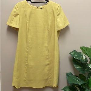 Tahari yellow woven dress w exposed gold zipper